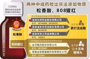 食药监总局:两种中成药检出非法添加物质松香酸、808猩红