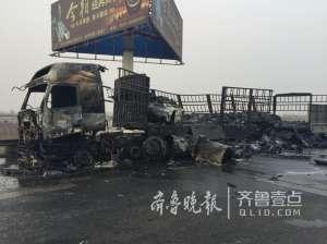 青银高速大货起火 失火原因可能是线路着火引起具体损失不明